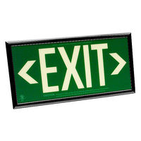 Single Face - Photoluminescent Exit Sign - Green - 100 ft. Viewing Distance - Black Frame - 20 Year Effective Life - Fulham FLPL50SGB