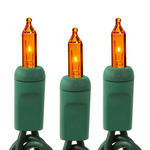 8 ft. String Lights - (20) Mini Lights - AMBER-ORANGE - 3 in. Bulb Spacing - Green Wire Image