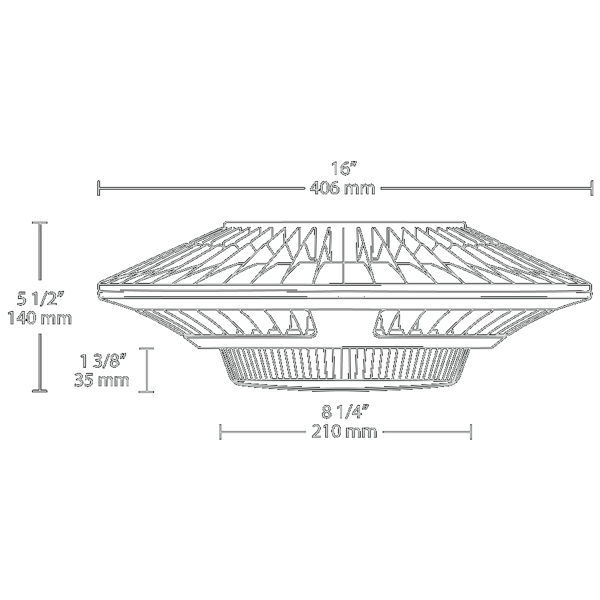 LED Garage Light Fixture - 2412 Lumens - 52 Watt - 175W Equal Image