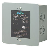 Leviton 51120-1 - AC Surge Protector - Single Phase - Type 2 SPD - Hardwired - Panel Mounted - 50kA Max. Capacity - 120/240 Volt - NEMA 1 Indoor Enclosure