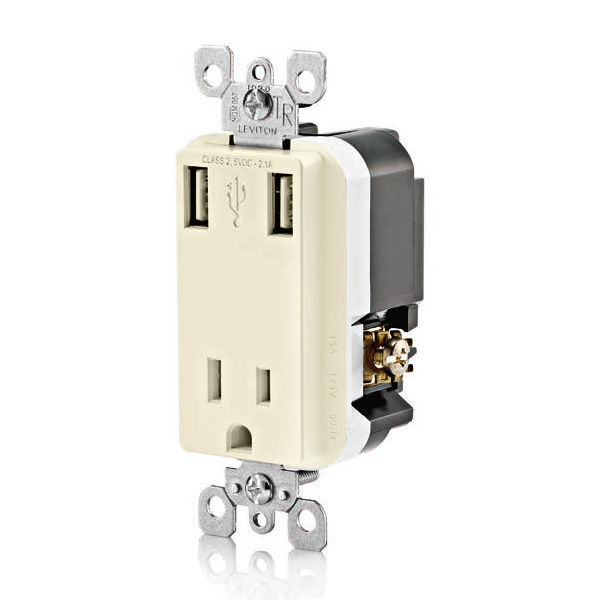 USB Charger Dual Receptacle - Light Almond Image
