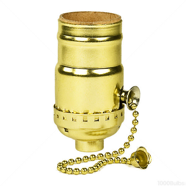 Perfect On Off Pull Chain Socket   Brite Gilt Brass Finish Image