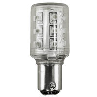 2W Double Contact BA15d - LED - 12 Lumens - 10W Halogen Equal - 4000 Kelvin - Cool White - 120 Volt DC Only