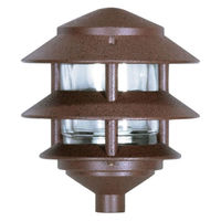 Nuvo 76-632 - 75 Watt Max. - Pagoda Pathway Light - 2 Louver - Small Hood - Old Bronze Finish - 120 Volt