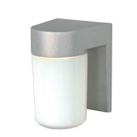 Nuvo 77-136 - (1 Light) Utility Fixture - 100 Watt - Satin Aluminum/White Cylinder Glass - 120 Volt