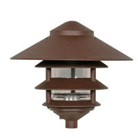 Nuvo 76-637 - 100 Watt Max. - Pagoda Pathway Light - 3 Louver - Large Hood - Old Bronze Finish - 120 Volt
