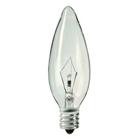 25 Watt - B10 - Clear - Straight Tip - 3,000 Life Hours - 220 Lumens - Candelabra Base - 130 Volt