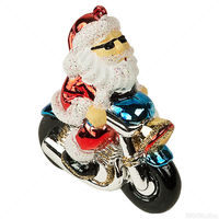 Motorcycle Santa Christmas Ornament - Shatterproof - 3 in. - 3 Pack