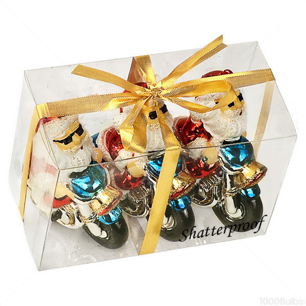Motorcycle Santa Christmas Ornament Image