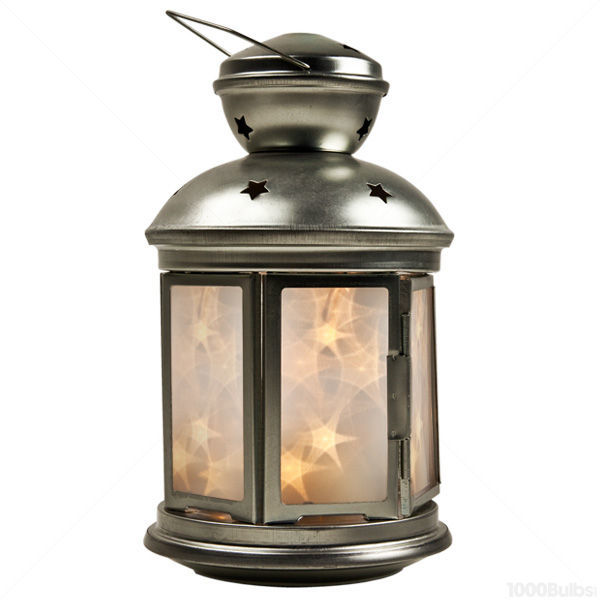 20 Led Silver Lantern With Timer Image