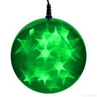 (24) GREEN LEDs - 6 in. dia. Holographic Starfire Sphere - Black Wire - Indoor/Outdoor - Battery Operated with Timer
