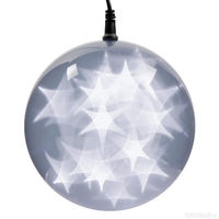 (24) COOL WHITE LEDs - 6 in. dia. Holographic Starfire Sphere - Black Wire - Indoor/Outdoor - Battery Operated with Timer