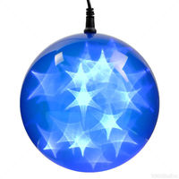 (24) BLUE LEDs - 6 in. dia. Holographic Starfire Sphere - Black Wire - Indoor/Outdoor - Battery Operated with Timer