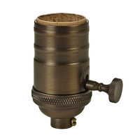 On-Off Turn Knob Socket - Antique Dark Brass Finish - 250 Max. Watt - Removable Knob - Medium Base - 1/8 IPS With Screw Set - PLT 80-2253