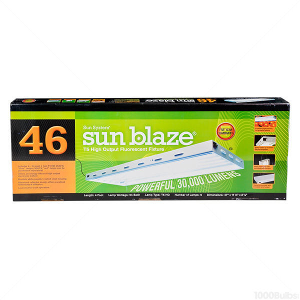 Sun Blaze T5-46 - 4 ft. - 6 Lamp - F54T5-HO - Fluorescent Grow Light Fixture Image