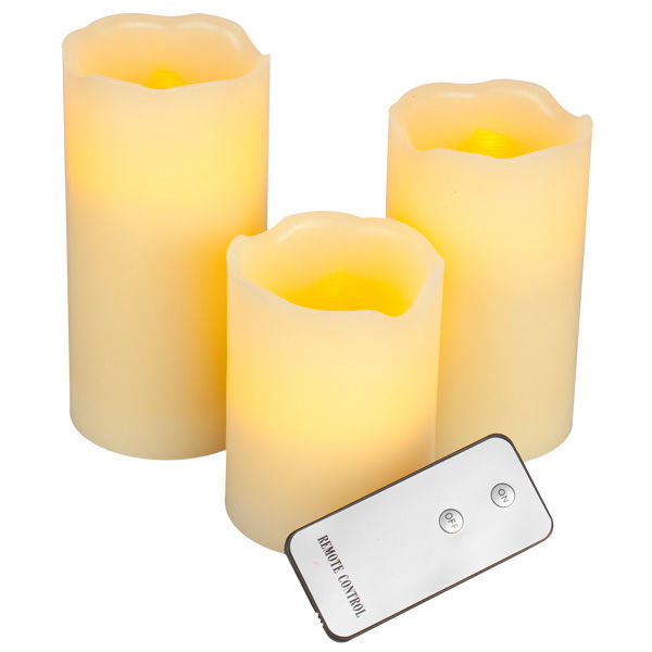 (3 Pack) - 4, 5, 6 in. ht. - 3 in. dia. - Ivory Color - LED - Flameless Wax Pillar Candles Image