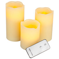 (3 Pack) - 4, 5, 6 in. ht. - 3 in. dia. - Ivory Color - LED - Flameless Wax Pillar Candles - Soft Glow Flicker Flame - Battery Operated with Remote - Gerson 30468