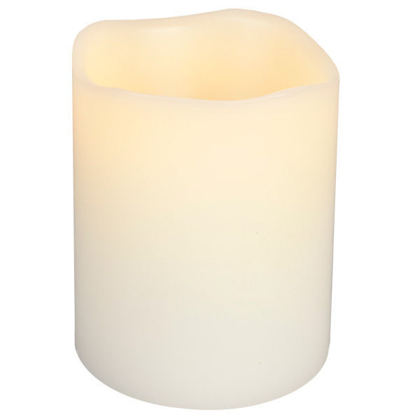 4 in. ht. - 3 in. dia. - Bisque Color - LED - Flameless Vanila Scented Wax Pillar Candle Image