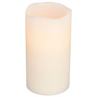 6 in. ht. - 3 in. dia. - Bisque Color - LED - Flameless Wax Scented Pillar Candle - Soft Glow Flicker Flame - Battery Operated with Timer - Vanilla Scented Wax - Gerson 33076