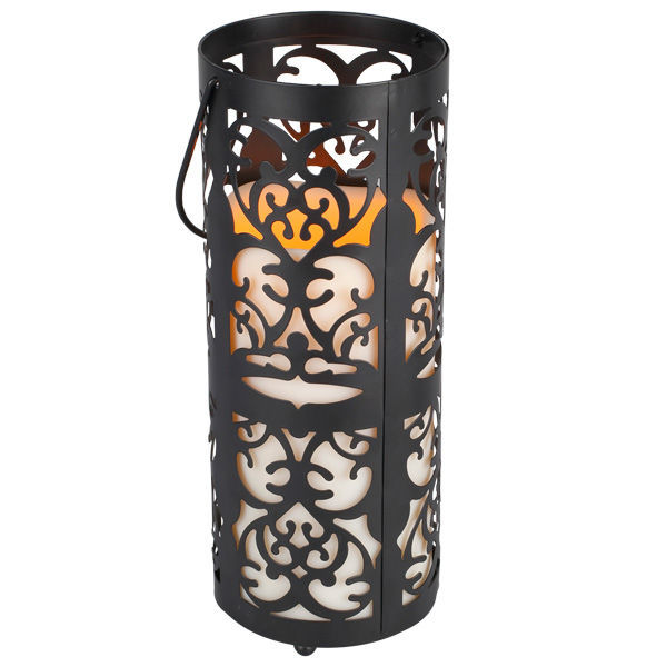 Metal Scroll Lantern with LED, Resin Pillar Candle Image