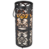 Metal Scroll Lantern with LED Resin Pillar Candle - Soft Glow Flicker Flame - Battery Operated with Timer - Indoor/Outdoor - Gerson 33524