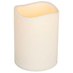 6 in. ht. - 4.5 in. dia. - Bisque Color - LED - Flameless Resin Pillar Candle Image