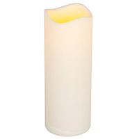 8 in. ht. - 3 in.dia. - Bisque Color - LED - Flameless Resin Pillar Candle - Soft Glow Flicker Flame -  Weather Resistant Resin - Indoor/Outdoor - Battery Operated with Timer - Gerson 33552