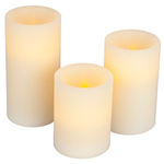 (3 Pack) - 4, 5, 6 in. ht. - 3 in. dia. - Bisque Color - LED - Flameless Wax Scented Pillar Candles Image