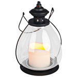 Metal with Glass School House Lantern with LED Resin Pillar Candle Image