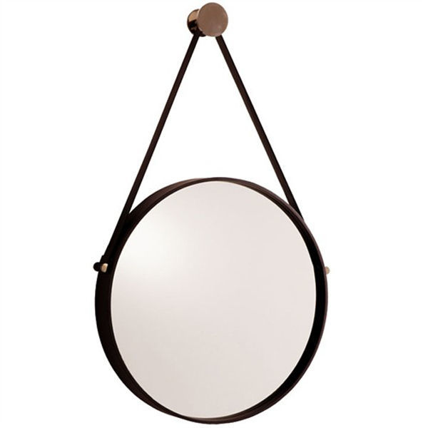 Arteriors 3002 - Hanging Round Wall Mirror with Leather Strap Image