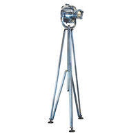 Authentic Reproduced Cinema Light - Floor Lamp - Made of Hand Polished Aluminum - Folding Tripod - 1 Light - Authentic Models SL034