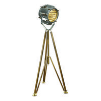 Authentic Reproduced Marconi Spotlight - Floor Lamp - Made of Hand Polished Aluminum and Solid Brass - 1 Light -  Authentic Models SL039