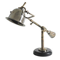 Authentic Reproduced Author's Desk Lamp - Parisian Art Deco - Made of Solid Brass - Black Granite Base - Authentic Models SL065