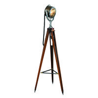 Authentic Reproduced Half Mile Ray Searchlight - Floor Lamp With Dimmer - Made of Solid Mahogany Wood and Brass - Adjustable Angle - Two-Tone Finish - 1 Light - Authentic Models SL040
