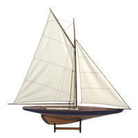 Sail Model, 1901 - Handcrafted America's Cup Yacht Replica - Features Solid Wood with Handstitched Cotton Sails and Brass Hardware - Blue-Green Trim - Table Stand Included - Authentic Models AS050