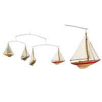 A-Cup Mobile - (4) Handcrafted J-Yacht Colored Miniature Models - Made of Solid Wood - Handstitched Cotton Sails and Brass Hardware - Authentic Models AS130