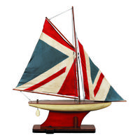 Union Jack Pond Yacht Model - Handcrafted Replica - Features Solid Wood with Hand-Sewn and Finished Sails - Table Stand Included - Authentic Models AS051