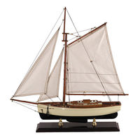 Small 1930's Classic Yacht - Handcrafted - Features Solid Wood Plank-on-Frame - Handstitched Cotton Sails and Brass Hardware - Antique Finished Stand Included - Authentic Models AS134