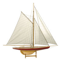 Sail Model Defender, 1985 - Handcrafted Classic Pond Yacht Replica - Features Solid Wood with Handstitched Cotton Sails and Brass Hardware - Table Stand Included - Authentic Models AS055
