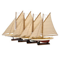 Mini Pond Yachts Set - Handcrafted Replica - Features Solid Wood with Handstitched Cotton Sails and Brass Hardware - Lacquer Finish - Wood Stands Included - Set of 4 - Authentic Models AS057A