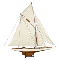 Medium America's Cup Columbia 1901 - Handcrafted Sailing Ship Model Replica - Features Solid Wood with Handstitched Cotton Sails and Brass Hardware - Antique Finish - Table Stand Included - Authentic Models AS076F