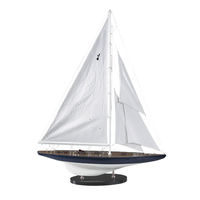 Rainbow 1934 - Handcrafted J-Yacht Replica - Gold Series - Features Solid Wood Plank-on-Frame - Handstitched Cotton Sails and Brass Hardware - Blue/White - Table Stand Included - Authentic Models AS152