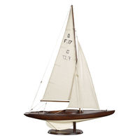 Dragon - Handcrafted Olympic Sail Racer Replica - Features Solid Wood Plank-on-Frame - Handstitched Cotton Sails and Brass Hardware - French Finish - Table Stand Included - Authentic Models AS078F