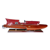 Thunderboat - Handcrafted 1950's Hydroplane Replica - Features Solid Wood Plank-on-Frame - Red Trim with Chrome and Leather Accents - Detailed Cockpit - Table Stand Included - Authentic Models AS184