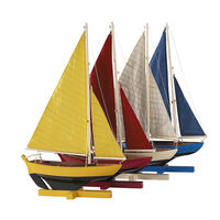 Sunset Sailers Set - Handcrafted Dinghies - Blue/Red/Yellow/White - Features Solid Wood with Handstitched Cotton Sails and Brass Hardware - Small - Table Stands Included - Set of 4 - Authentic Models AS170