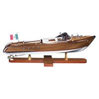 Aquarama - Handcrafted Speedboat Replica - Features Solid Wood Plank-on-Frame - Leather Accents - Table Stand Included - Authentic Models AS182