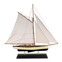 Large 1930's Classic Yacht - Handcrafted - Features Solid Wood Plank-on-Frame - Handstitched Cotton Sails and Brass Hardware - Antique Finished Stand Included - Authentic Models AS135