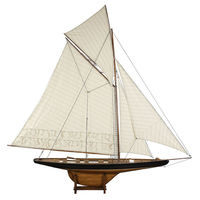 Large America's Cup Columbia 1901 - Handcrafted Sailing Ship Model Replica -  Features Solid Wood with Handstitched Cotton Sails and Brass Hardware - Antique Finish - Table Stand Included - Authentic Models AS075F