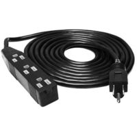 12 ft. - Black Extension Cord - 3 Grounded Outlets - 120 Volt - Indoor Use Only - Hydrofarm BACDE12012