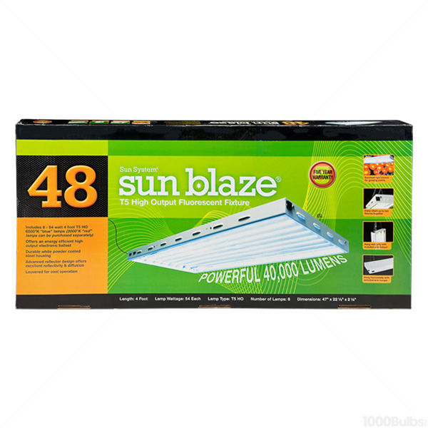 Sun Blaze T5-48 - 4 ft. - 8 Lamp - F54T5-HO - Fluorescent Grow Light Fixture Image